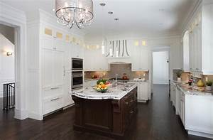 35 striking white kitchens with dark wood floors 766