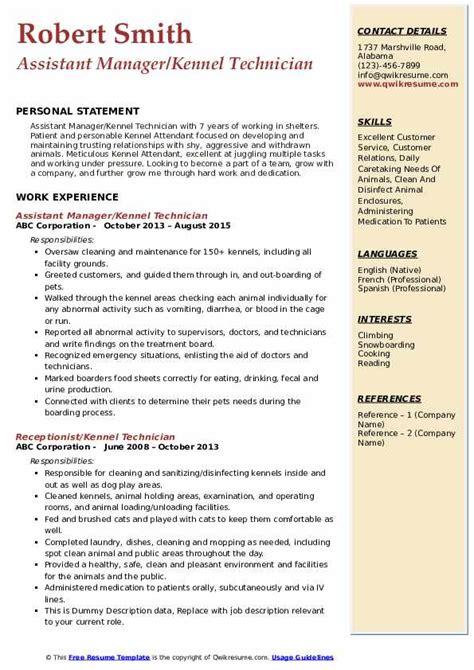 kennel technician resume sles qwikresume