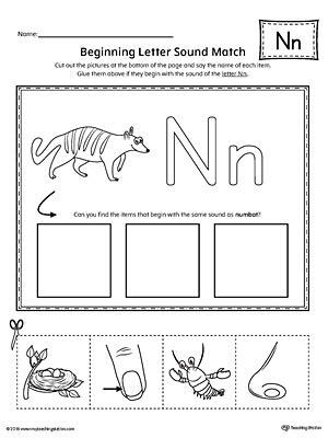 letter  beginning sound picture match worksheet