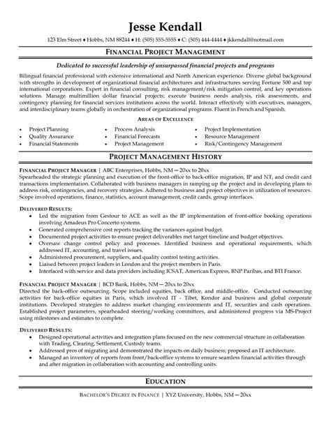 Sle Finance Project Manager Resume by Pmo Manager Resume Sle 28 Images Junior Manager Resume