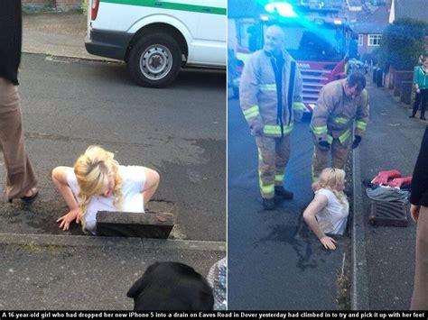 girl  stuck   storm drain   rescue fallen