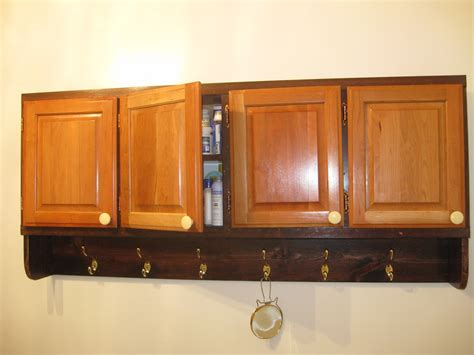 Oak Bathroom Wall Cabinets With Towel Bar by Rustic Varnished Oak Wood Bathroom Wall Cabinets With