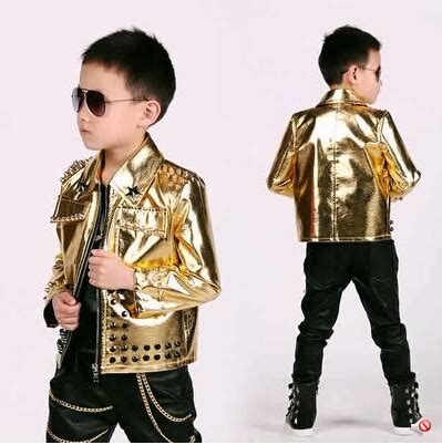 2015 fashion kids baby faux leather blazers casual gold rivet shiny jacket boys suits for ...
