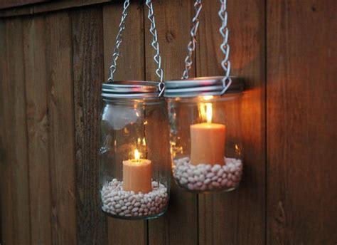 hanging mason jars  pebbles  candles  home
