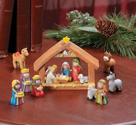 9pcs mini christmas nativity set stable with jesus mary
