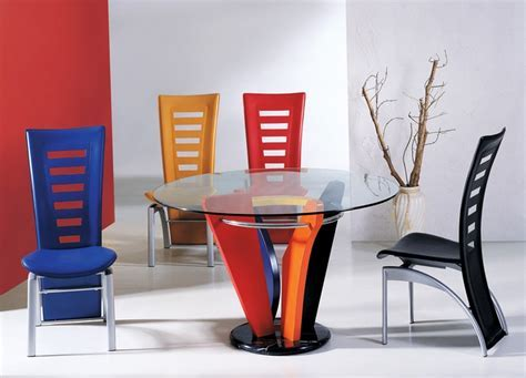 Colorful dining chairs with contemporary round glass