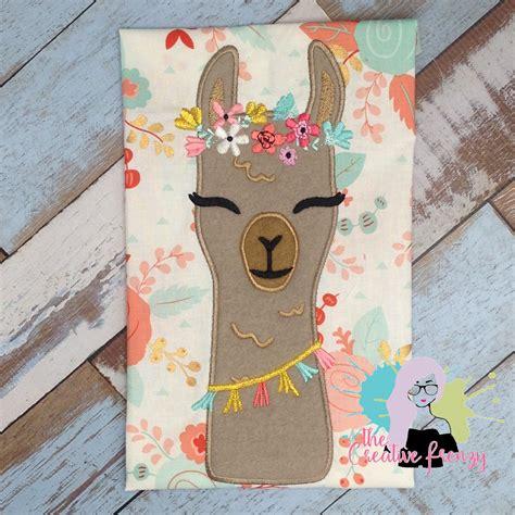 applique design floral llama applique embroidery design the creative frenzy