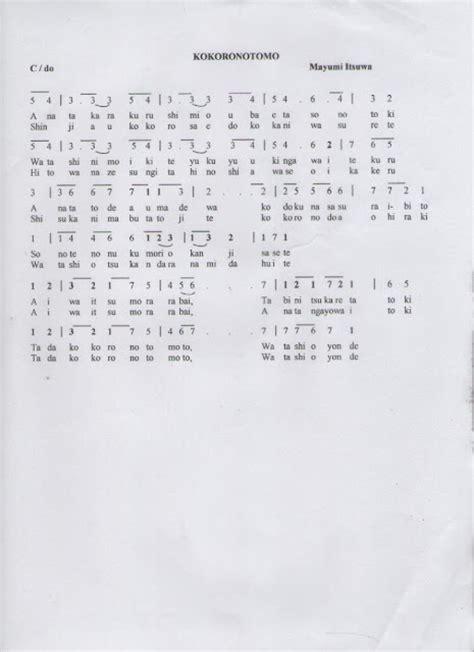 not angka balok laskar pelangi not angka lagu kokoronotomo mayumi itsuwa not angka lagu