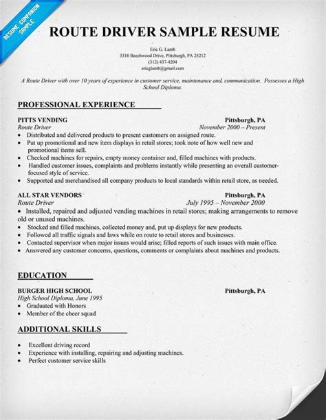 Resume For Truck Driver With No Experience by Route Driver Resume Sle Resumecompanion Resume