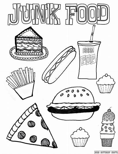 Coloring Healthy Pages Foods Unhealthy Junk Western