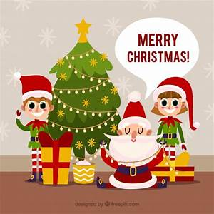 Santa Claus And His Elves Vector Free Download