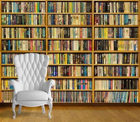 library books book case wall art wall mural  adhesive