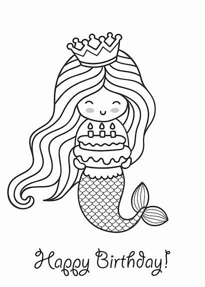 Birthday Printable Cards Coloring Happy Sirena Torta