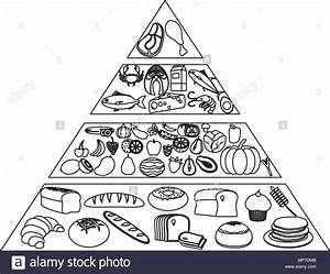Line Nutritional Food Pyramid Diet Products Stock Vector