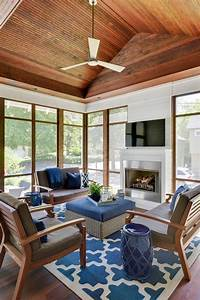 Casual, Sophisticated, Enclosed, Outdoor, Living, Room, With, Vaulted, Shiplap, Ceiling