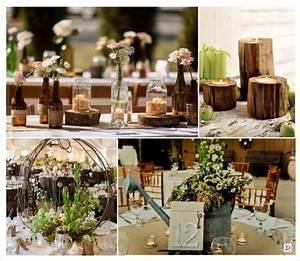 Deco Centre De Table Mariage : decoration mariage rustique vive le bois ~ Teatrodelosmanantiales.com Idées de Décoration