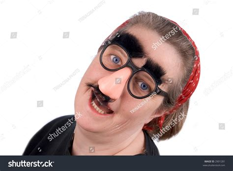 Woman Wearing Fake Nose And Glasses With Mustashe And
