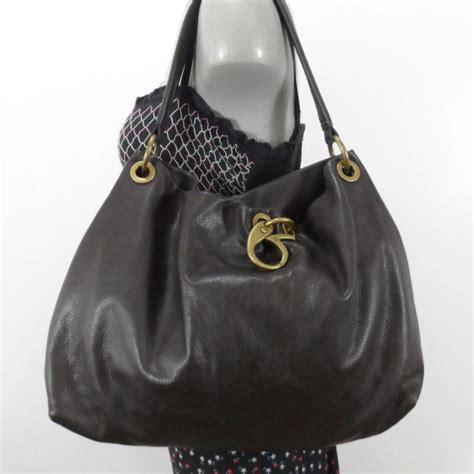 vera wang larger brown leather hobo shoulder bag purse