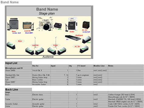 band technical rider template creator stage planning