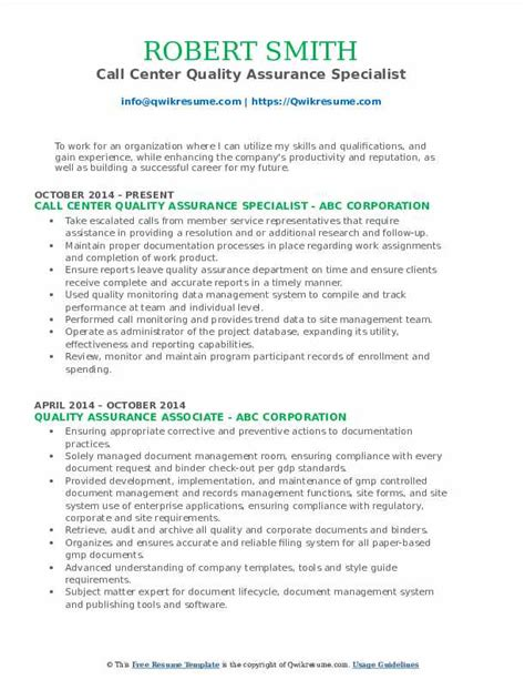 Call Center Quality Assurance Resume by Quality Assurance Specialist Resume Sles Qwikresume