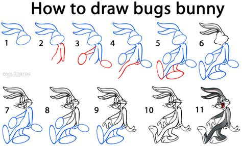 draw bugs bunny step  step pictures coolbkids