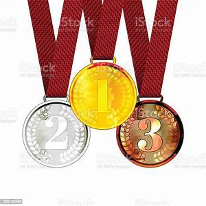 Gold, The, First, Second, And, Third, Place, Award, Medals, With