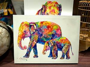 colorful animal canvas elephant | Colorful Elephant ...