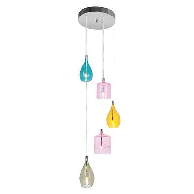 5 pendant light ceiling multi coloured glass with chrome