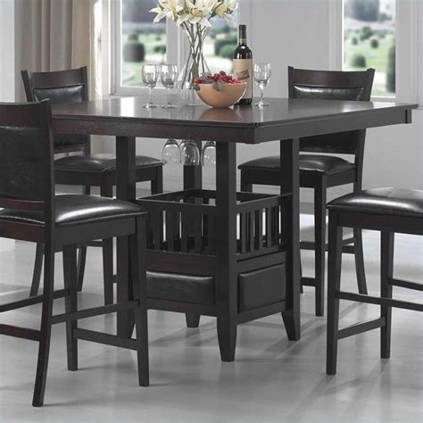 dining table cabinet coaster jaden square counter height dining table cabinet