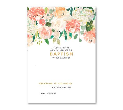 template  floral baptism invitation template