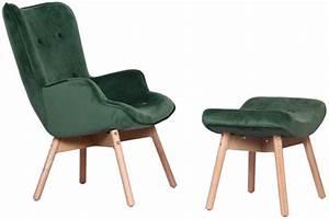 Repose Pied Scandinave : fauteuil avec repose pieds scandinave velours vert evoque ~ Melissatoandfro.com Idées de Décoration