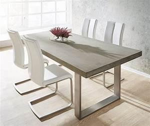 Esstisch Grau Holz : esszimmertisch zement grau 200x100 cm gestell edelstahl schmal beton esstisch ~ Frokenaadalensverden.com Haus und Dekorationen