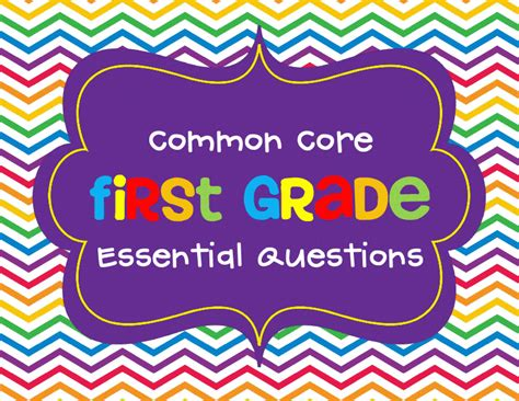 Crazy For First Grade First Grade Common Core Essential Question Posters
