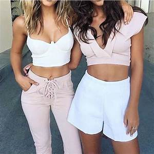 Jeans top pants high waisted jeans pink white lace up bralette push up outfit tumblr ...