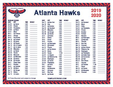 printable   atlanta hawks schedule