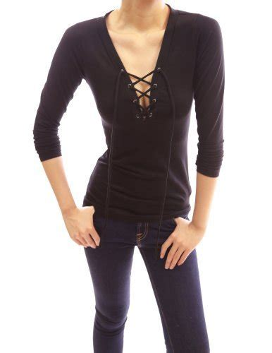 aesthetic official pattyboutik cotton v neck lace up sleeve pullover blouse top black m