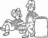 Coloring Farmers Pages Farmer Drawing Printable Cartoon Professions sketch template
