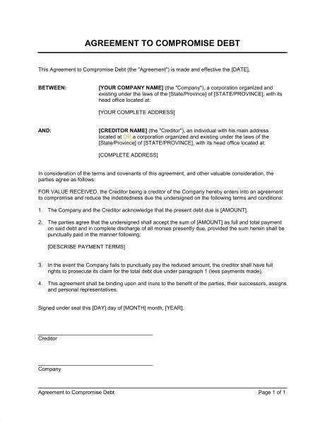 agreement  compromise debt template sample form