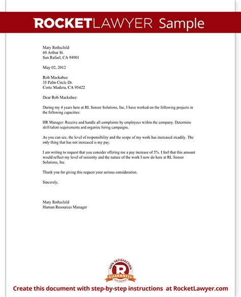 salary increase letter    raise rocket lawyer