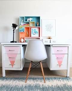 Bureau En Metal : bureau en m tal repeint dans des couleurs pastel ~ Nature-et-papiers.com Idées de Décoration