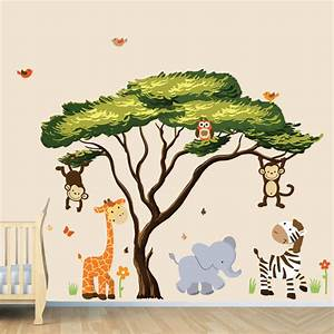African tree with jungle animals wall decal wall stickers for Jungle wall decals