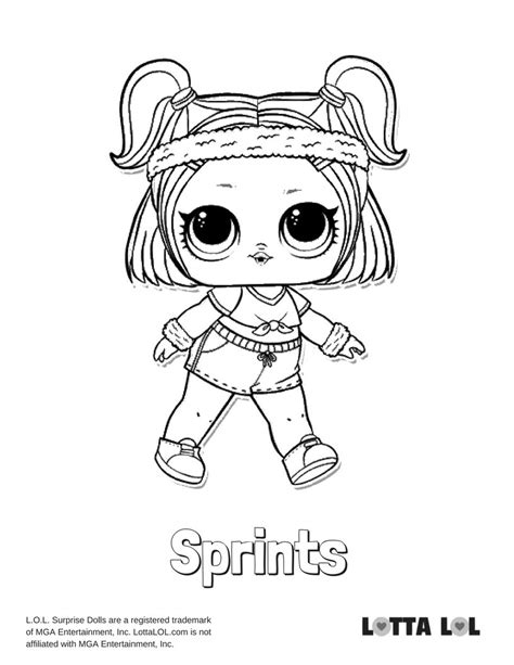 sprints lol surprise doll coloring page lotta lol card