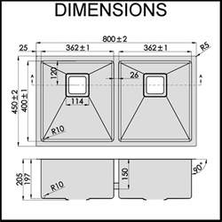 Double Sink Dimensions Kitchen by Stainless Steel Kitchen Sink Double Bowl 1 5mm