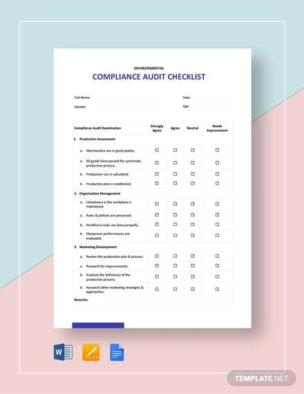 compliance checklist samples  templates