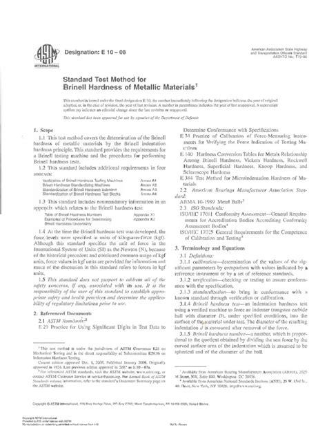 ASTM E10-08 standard