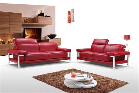 chic fiery red  piece top grain leather living room set