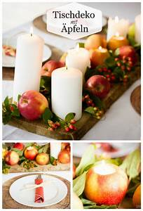 Herbst Tischdeko Natur : herbstliche tischdeko mit pfeln und kerzen ~ Bigdaddyawards.com Haus und Dekorationen