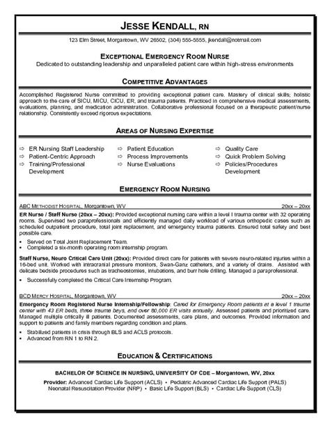 Er Nursing Resume Objectives by Exle Er Emergency Room Resume Free Sle