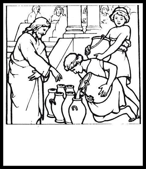 turn photos into coloring pages jesus turns water into wine coloring pages coloring home