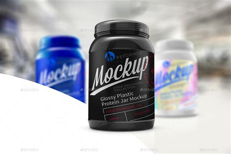 A photorealistic glossy cosmetic jar mockup psd. Glossy Plastic Protein Jar Poster Mockup by _Reformer_ ...